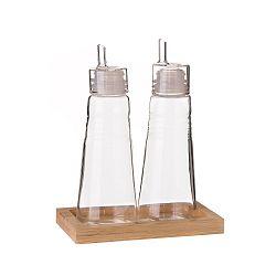 Set 2 skleněných lahví na olej a ocet na bambusovém stojanu Unimasa, 180 ml