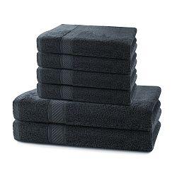 Set 2 tmavě šedých osušek a 4 ručníků DecoKing Bamby