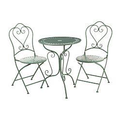 Set 2 zelených zahradních židlí a stolku Premier Housewares Jardin