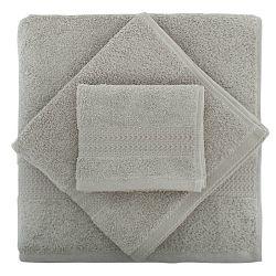 Set 3 šedých ručníků z bavlny a osušky Rainbow