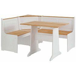 Set bílé rohové lavice a jídelního stolu z masivního borovicového dřeva Støraa Samantha