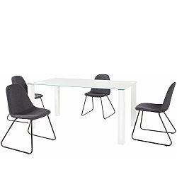 Set bílého jídelního stolu a 4 antracitových jídelních židlí Støraa Dante Colombo Duro