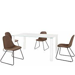 Set bílého jídelního stolu a 4 tmavě hnědých jídelních židlí Støraa Dante Colombo Duro