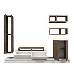 Set dřevěného TV stolku a 3 polic Puzzle
