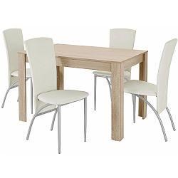 Set jídelního stolu a 4 béžových jídelních židlí Støraa Lori Nevada Oak Light Grey