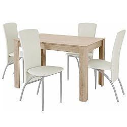 Set jídelního stolu a 4 bílých jídelních židlí Støraa Lori Nevada Oak White
