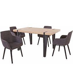 Set jídelního stolu a 4 tmavě šedých jídelních židlí Støraa Shelia Buckley