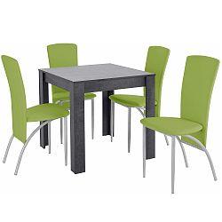 Set jídelního stolu a 4 zelených jídelních židlí Støraa Lori Nevada Duro Slate Green