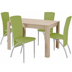 Set jídelního stolu a 4 zelených jídelních židlí Støraa Lori Nevada Oak Green