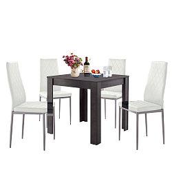Set jídelního stolu v betonovém dekoru a 4 bílých jídelních židlí Støraa Lori and Barak, 80x80cm