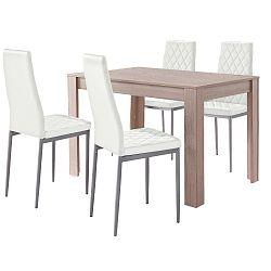 Set jídelního stolu v dubovém dekoru a 4 bílých jídelních židlí Støraa Lori and Barak, 120x80cm