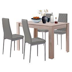 Set jídelního stolu v dubovém dekoru a 4 šedých jídelních židlí Støraa Lori and Barak, 120x80cm