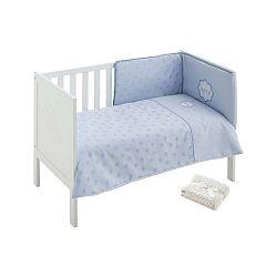 Set modré dětské postýlky s přikrývou, dekou a polstrovanou ohrádkou Naf Naf Chic