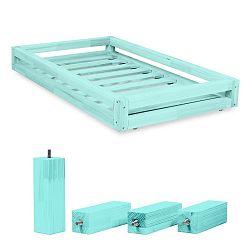 Set modré zásuvky pod postel a 4 prodloužených nohou Benlemi,propostel90x200cm