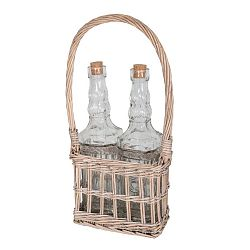 Set proutěného košíku a 2 skleněných lahví Antic Line