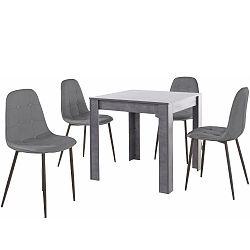 Set šedého jídelního stolu a 4 šedých jídelních židlí Støraa Lori Lamar Duro
