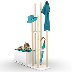 Set věšáku na kabáty a lavice s úložným prostorem s modrým detailem Rafevi Katana