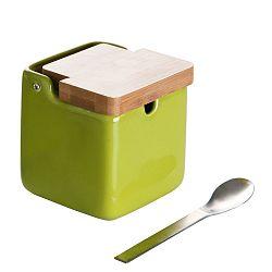 Set zelené dózy na cukr se lžičkou Versa Spoon Wood
