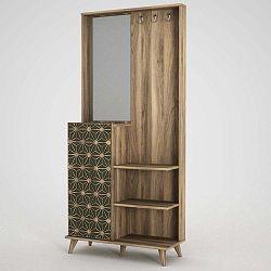 Skříň se zrcadlem v dekoru ořechového dřeva Ratto Tress