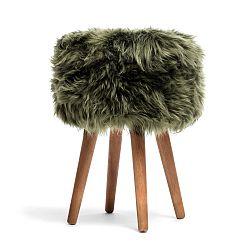 Stolička se zeleným sedákem z ovčí kožešiny Royal Dream, ⌀30cm