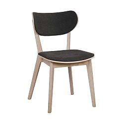 Světle hnědá dubová jídelní židle s tmavě šedým sedákem Folke Cato