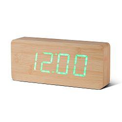Světle hnědý budík se zeleným LED displejem Gingko Slab Click Clock