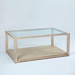 Světle hnědý konferenční stolek z lakovaného dřeva a skla Thai Natura, 110 x 70 cm
