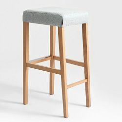 Světle modrá barová stolička s přírodními nohami Custom Form Wilton