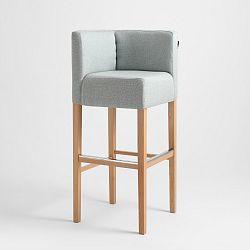 Světle modrá barová židle s přírodními nohami Custom Form Wilton