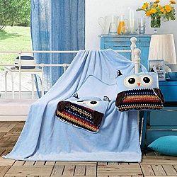 Světle modrá dětská deka z mikrovlákna DecoKing Cuties Owls, 110 x 160 cm