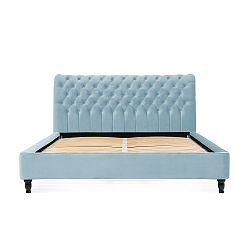 Světle modrá postel z bukového dřeva s černými nohami Vivonita Allon, 140 x 200 cm