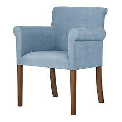 Světle modrá židle s tmavě hnědými nohami Ted Lapidus Maison Flacon