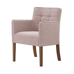 Světle růžová židle s tmavě hnědými nohami Ted Lapidus Maison Freesia
