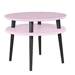 Světle růžový konferenční stolek s černými nohami Ragaba UFO, Ø57cm