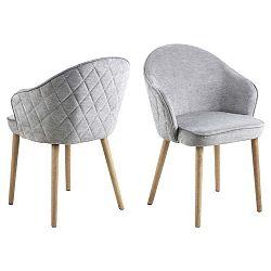 Světle šedá jídelní židle s podnožím z kaučukového dřeva Actona Mitzie