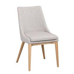 Světle šedá polstrovaná jídelní židle s hnědými nohami Folke Bea