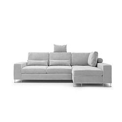 Světle šedá rozkládací rohová pohovka se sametovým potahem Windsor & Co Sofas Diane, pravýroh