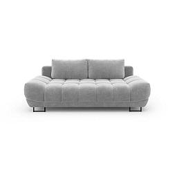 Světle šedá třímístná rozkládací pohovka se sametovým potahem Windsor & Co Sofas Cirrus