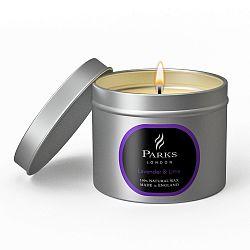 Svíčka Parks London, 25 hodin hoření, vůně levandule a limetky