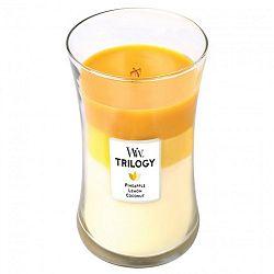 Svíčka s vůní ananasu, citrusů a kokosu WoodWick Trilogy Plody léta, dobahoření130hodin
