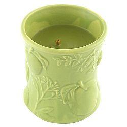 Svíčka s vůní ovoce a květin v keramickém svícnu WoodWick Košík jablek, dobahoření40hodin