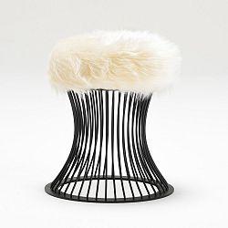 Taburetka se sedákem z bílé umělé kožešiny Balcab Home Milly