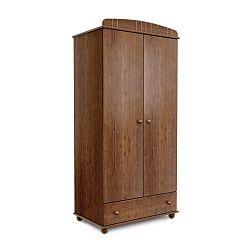 Tmavě hnědá dvoudveřová šatní skříň z borovicového dřeva Faktum Tomi