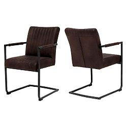 Tmavě hnědá jídelní židle s područkami Canett Pitou