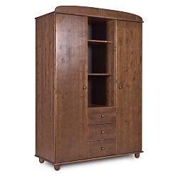 Tmavě hnědá šatní skříň z borovicového dřeva Faktum Tomi