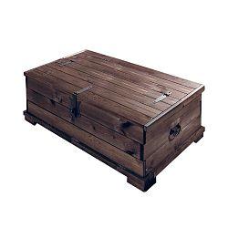 Tmavě hnědá úložná truhla z borovicového dřeva Støraa Valerie, 72x39cm