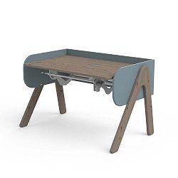 Tmavě hnědo-modrý psací stůl z borovicového dřeva s nastavitelnou výškou Flexa Woody