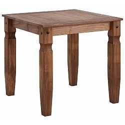 Tmavě hnědý jídelní stůl z masivního borovicového dřeva Støraa Alfredo,80x80cm