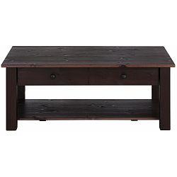 Tmavě hnědý odkládací stolek z masivního borovicového dřeva Støraa Yvonne, 100x60cm