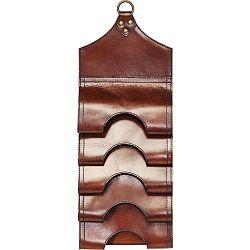 Tmavě hnědý závěsný držák na lahve z pravé bůvolí kůže Kare Design Bottle Rack